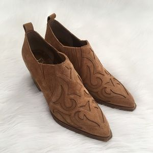 Marc Fisher Tan Leather Western Ankle Booties
